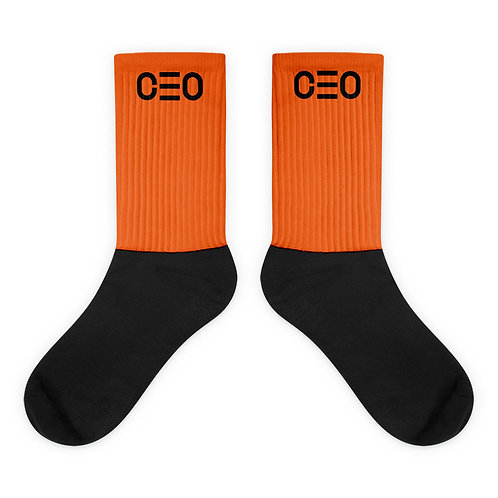 LUSU Designs Sock Collection CEO Noir Label Orange