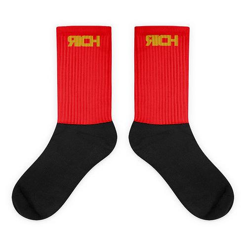 LUSU Designs Sock Collection RICH Midas Label Red