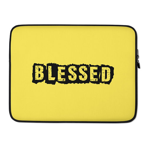 LUSU Designs Laptop Sleeve Collection Blessed Noir Label Yellow