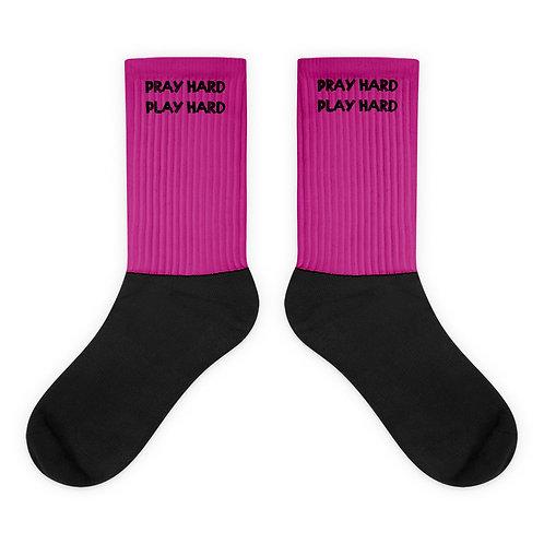 LUSU Designs Socks Collection Pray Hard Play Hard Noir Label IV