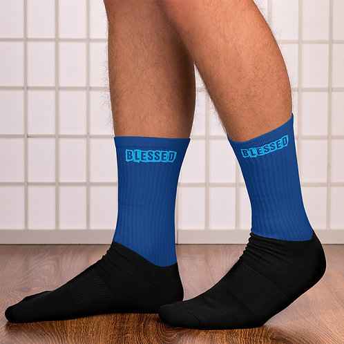 LUSU Designs Sock Collection Blessed Azure Label Blue