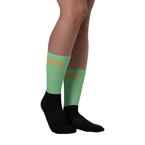 LUSU Designs Sock Collection Blessed Tangerine Label Green