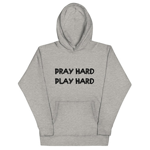 LUSU Designs Unisex Hoodie Collection Pray Hard Play Hard Noir Label I