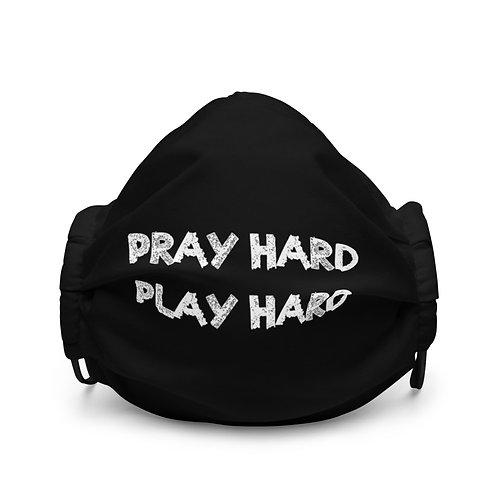 LUSU Designs Premium Face Mask Pray Hard Play Hard Blanco Label I