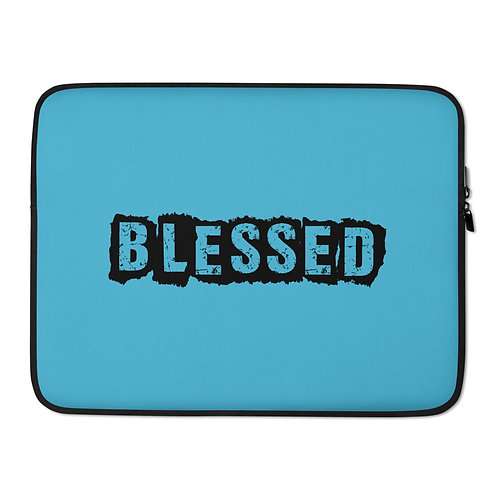 LUSU Designs Laptop Sleeve Collection Blessed Noir Label Lt Blue