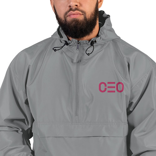 LUSU Designs Embroidered Packable Jacket Collection CEO Flamingo Label