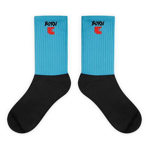LUSU Designs Socks Collection Born Ready Noir Label Lt Blue