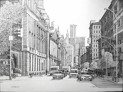 Broome and Centre St. NYC 18x24 Pen and