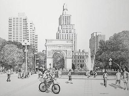 18x24 pen and ink. Washington square par