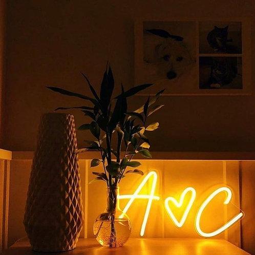 Initiales personnalisées - Signe en néon LED