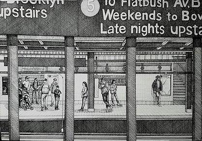 15x22 pen and ink_#nycsubway #newyorksub