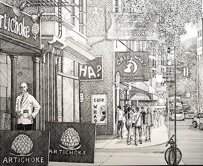 11x14 Pen and ink of Macdougal St. In th