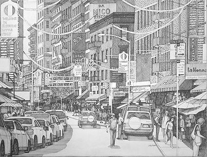 18x24 pen and ink of Mulberry St.NYC  #p