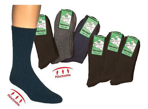 Plüschsohle-Socken, mit Wolle * 3er-Bündel
