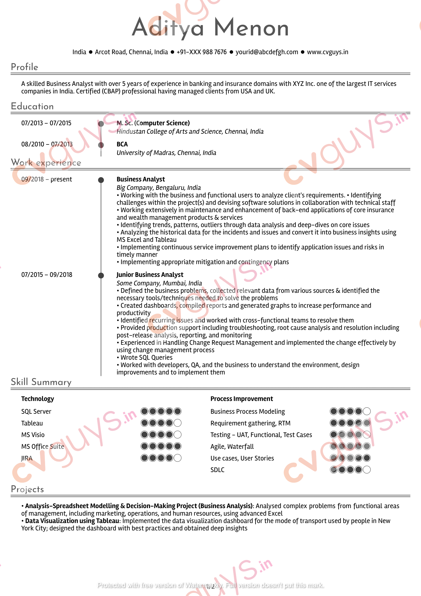 Business Analyst Resume Sample by CVGUYS.IN