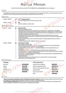 Business Analyst Resume Sample