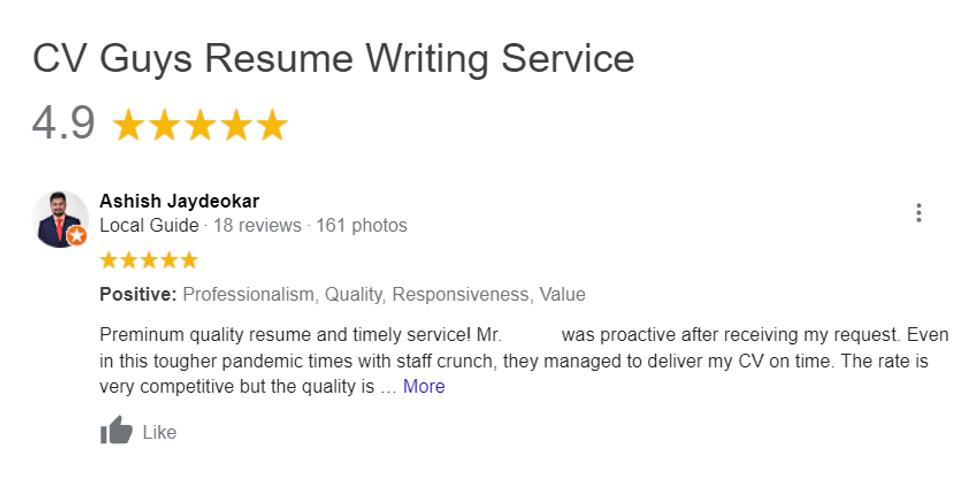 CV Guys Google Review 1