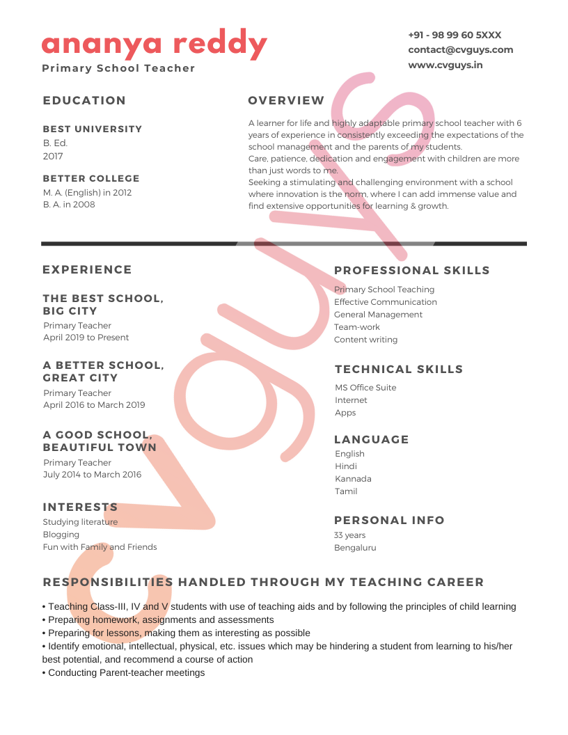 Experienced Teacher Resume Example - CVGUYS.IN