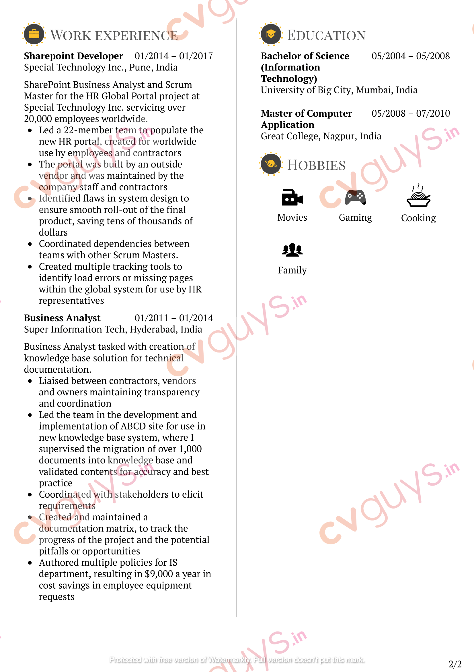Software Developer Resume Sample by CVGUYS.IN
