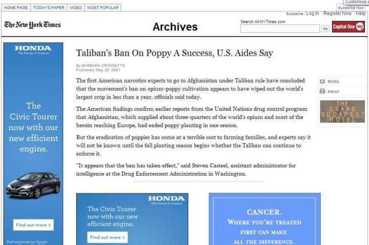 New York Times, Taliban ban on opium