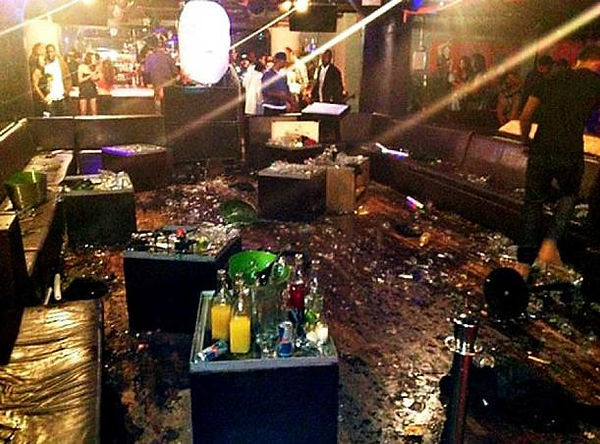 Aftermath of bottle fight in nightclub