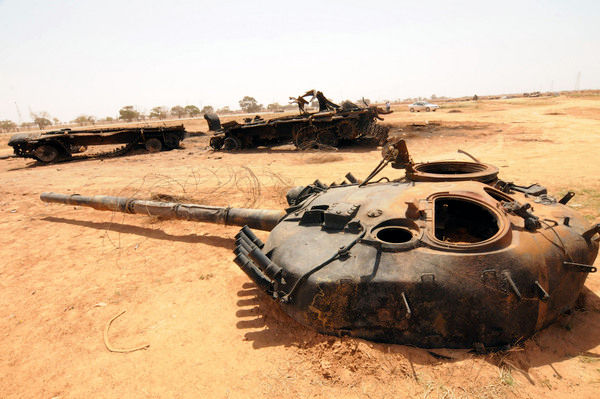 Libyan Army tank in pieces