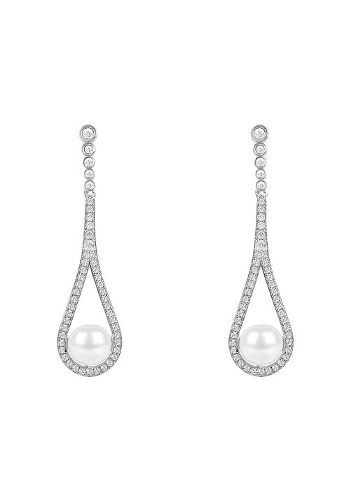 Cradled Pearl Drop Earrings Silver