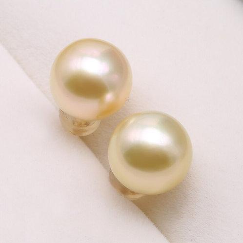 JYX 18K Gold Stud Earrings Jewelry 10mm Golden South Sea Pearl Earrings