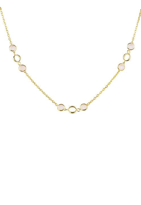 Milan Link Gemstone Necklace Gold Rose Quartz