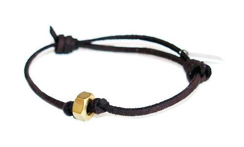 Brown Deerskin Mens Bracelet With Brass Bolt Nut