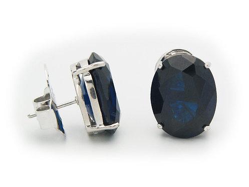 Large Oval Sapphire CZ Stud Earrings