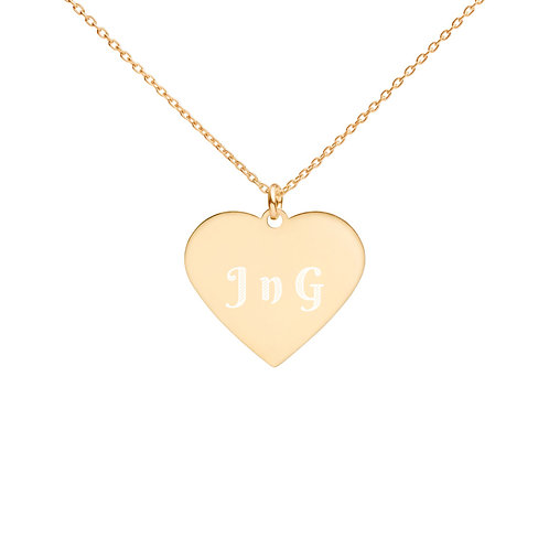 J n G Engraved Silver Heart Necklace
