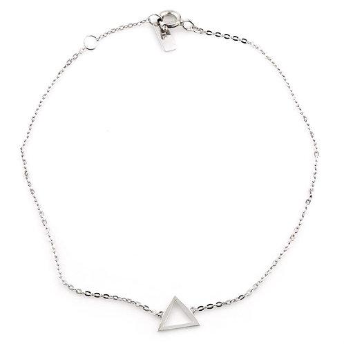 9ct White Gold Dainty Triangle Chain Bracelet