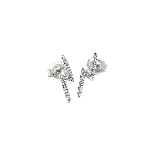 14k White Gold Diamond Lightning Bolt Stud Earrings