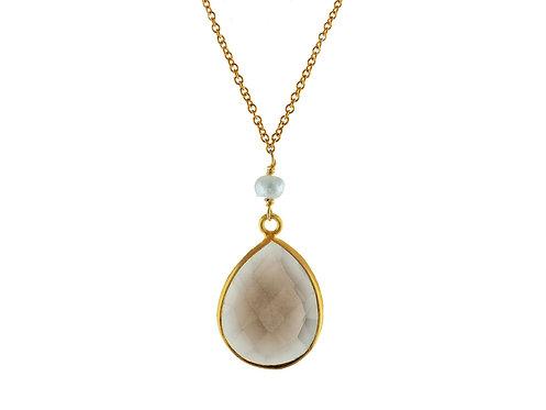 Tear Drop Natural Quartz & Pearl Necklace