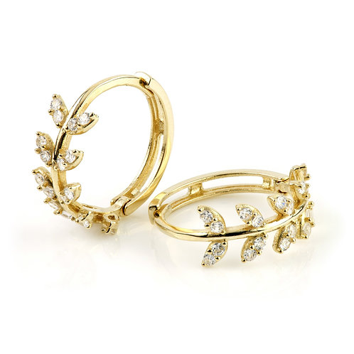 9ct Gold Crystal Leaf Gem 12mm Huggie Earring