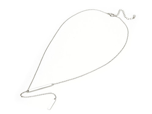 """Double Bar Lariet Necklace in Rhodium Plated Sterling Silver,  16""""+2"""""""