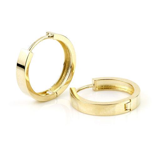 9ct Gold Flat Plain 17mm Hoop Earrings