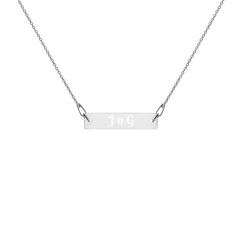 J n G Engraved Silver Bar Chain Necklace