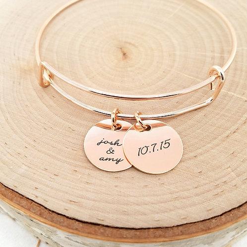 Personalized Rose Gold Bangle - Anniversary Bracelet