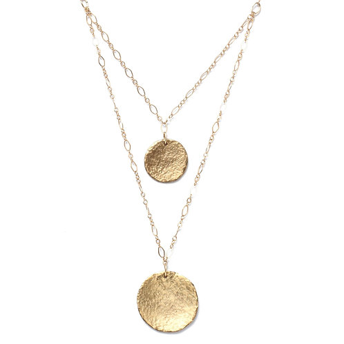 Double Strand Coin Necklace 14k Gold