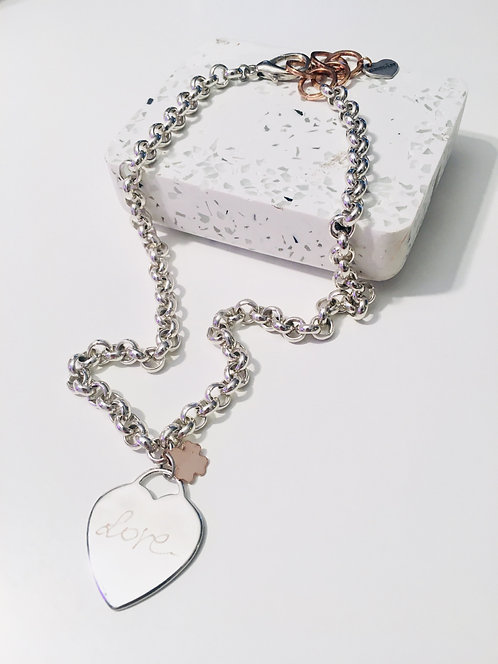 Engraved Personalized Silver Heart Necklace, Custom Necklace