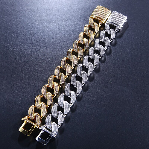 Cubic Zirconia Bling Iced Out Luxury Chain Bracelet for Men Gold Silver