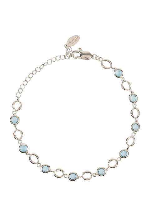 Milan Link Gemstone Bracelet Silver Blue Topaz