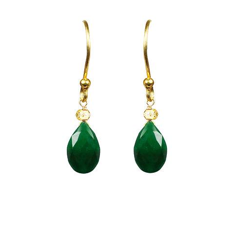 Emerald Drop Vermeil Earrings