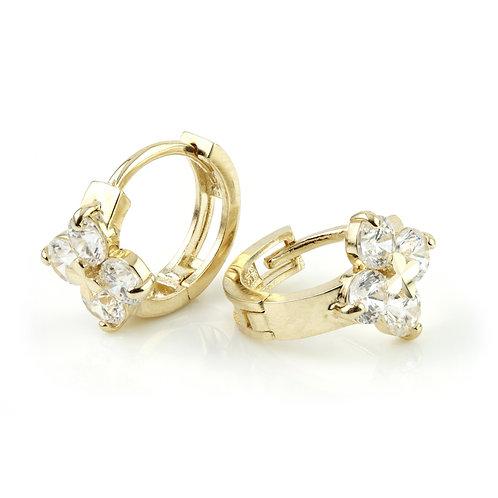 9ct Gold Crystal Flower 11mm Huggie Earring