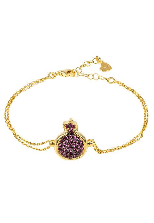 Pomegranate Ruby Cubic Zirconia Pink Bracelet Gold