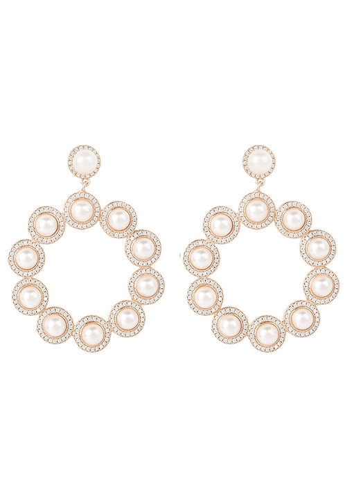 Gatsby Pearl Gemstone Statement Earrings Rosegold
