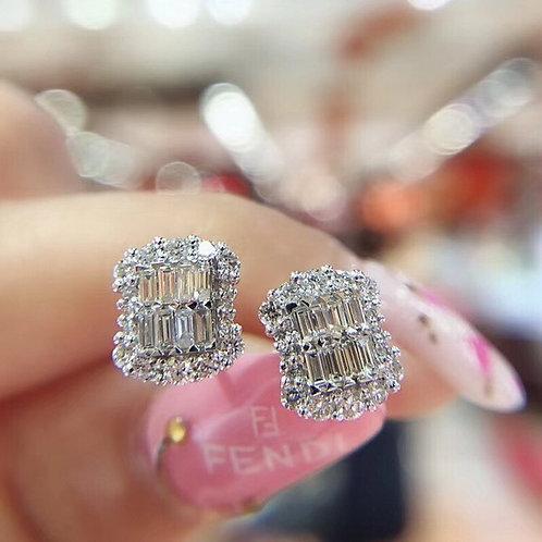 Baguette Lab Diamond Stud Earring Real 925 Sterling Silver Jewelry