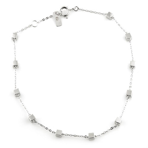 9ct White Gold Tiny Cube Chain Bracelet